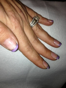 Purple and silver french manicure