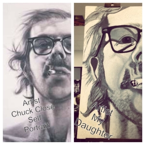 Chuck Close Self Portrait and Recreation